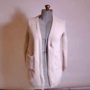 Anthropologie Harmony White Knit Open Cardigan